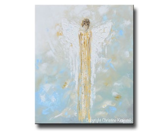 GICLEE PRINT Art Abstract Angel Painting Gold Home Decor Wall Decor Wall Hangings Christmas Gift Blue Grey Green Spiritual Art - Christine