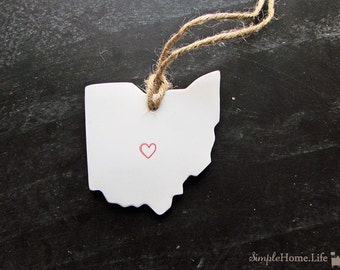 Ohio State Clay Tag -Columbus, Cincinnati, Cleveland,Ornament, Gift Wrap & Decoration