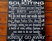 Custom No Soliciting Sign, Silly No Soliciting Sign, Non Relgious Soliciting Sign, Fun No Soliciting Sign