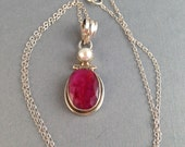 Vintage Sterling Silver Lepidolite and Pearl Pendant 1.75 Inches Long 5/8 Inches Wide on Optional 18.5 Inch Sterling Silver Chain