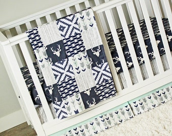 Woodlands Crib Bedding, Navy Deer, Grey, Navy and Mint Baby Bedding, Woodlands Nursery Crib Set