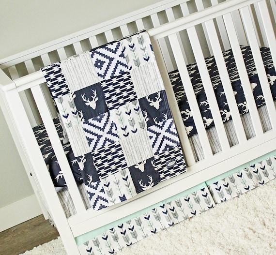Woodlands Deer Crib Bedding Set Mint Navy Blue Gray Baby - Baby boy deer crib bedding sets