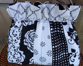 Handcrafted Black and White Purse/Handbag with Kiss Lock Handle Frame