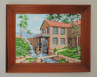 Vintage Water Mill Mid Century Paint By Number Framed Art in Unique Wood Stained Frame