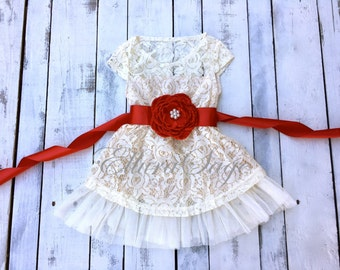 flower girl dress, lace baby dress, rustic flower girl dress, country flower girl dress, lace Christmas dress, flower girl dress.