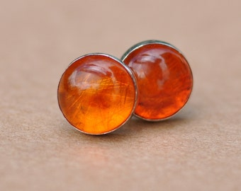 Amber Earrings handmade with Sterling Silver Earring Studs, 8mm Gemstones and silver earrings, natural, silver jewelry, orange, gifts