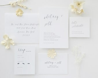 Traditional Wedding Invitation Sample - Whitney | Script Wedding Invitations | Black and White Wedding Invitations