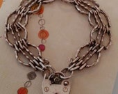 Vintage Sterling Silver English Bar Gate Bracelet with Heart Padlock Clasp