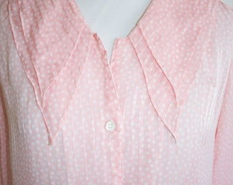 Vintage 80s Secretary Blouse, 1980s Sheer Blouse, Striped, Polka Dot, Pink, Oversized Collar