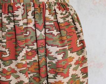 Vintage 80s Ikat Skirt, 1980s Ethnic Skirt, High Waisted, Midi, Boho, Free People, Festival