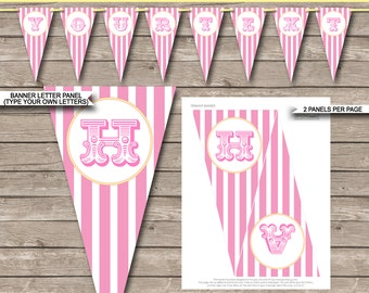 Pink Carnival Party Banner - Circus Party - Happy Birthday Banner - Custom Banner - Party Decorations - INSTANT DOWNLOAD with EDITABLE text