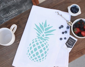 1 Pineapple Towel,Kitchen Towels -Flour Sack Towels -Tea Towels-seaside -coastal-  Dish Towels - by Modern Vintage Market