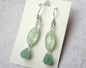 Faceted Prehnite & Aventurine Gemstone Drops on Sterling Silver