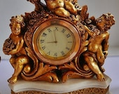 Vintage Clock, French Clock, Cupids, Cherubs,Antique Cupid Cherub Boudoir Clock With Utterly Charming and Romantic Clock WAS 99 NOW 90