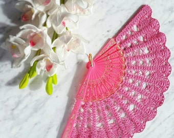 Lace Fan- Hand Held Fan- Handmade Lace Hand Fan- Neon Pink Folding Hand Fan- Bridal Fan- Gift for Her- Gift under 50- Valentines Gift