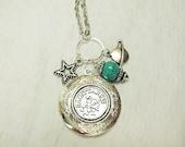 Zodiac Locket Necklace Sagittarius Turquoise Charms