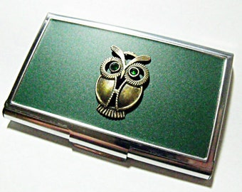 Credit Card Holder Business Card Holder, Bronze Owl Emerald Green Eyes Handmade