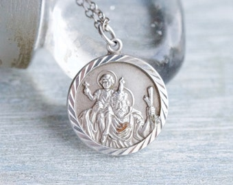 St Christopher Necklace - Vintage Sterling Silver Medallion on Chain - Religious Icon - Made in England Hallmarked Birmingham