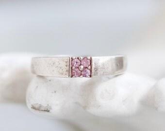 Pink Rhinestones Ring - Sterling Silver Modern Design - Ring Size 7.5