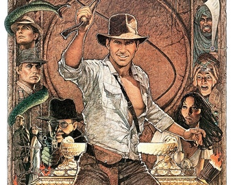 """Raiders of the Lost Ark - Indiana Jones - Home Theater Decor - 13""""x19"""" or 24""""x36"""" - Action Adventure Movie Poster Print - Harrison Ford"""