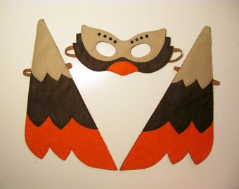 Bird felt mask & wings set - brown orange for kids 2-10 years handmade childrens costume accessory Dress up play Theatre roleplay Photo prop