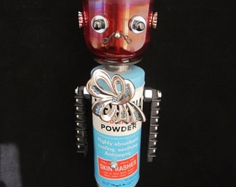Mr. Mariachi Bot - found object robot sculpture assemblage by Cheri Kudja with Bitti Bots