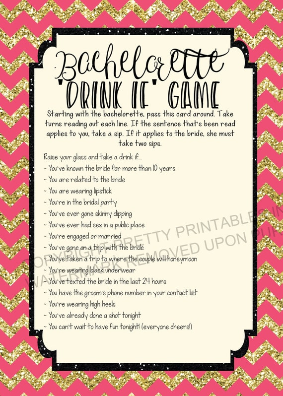 Drink If… A Bachelorette Party Game Free Printable