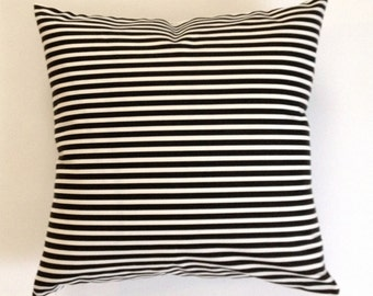 SET OF TWO Decorative Throw Pillow Black and White Striped Medium Weight Cotton