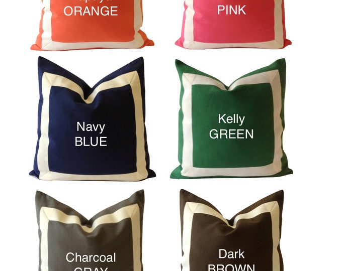 Decorative Pillow Cover Cotton Canvas with Off White Grosgrain Ribbon Border - 10x20 To 26x26 6 Different Color Choices