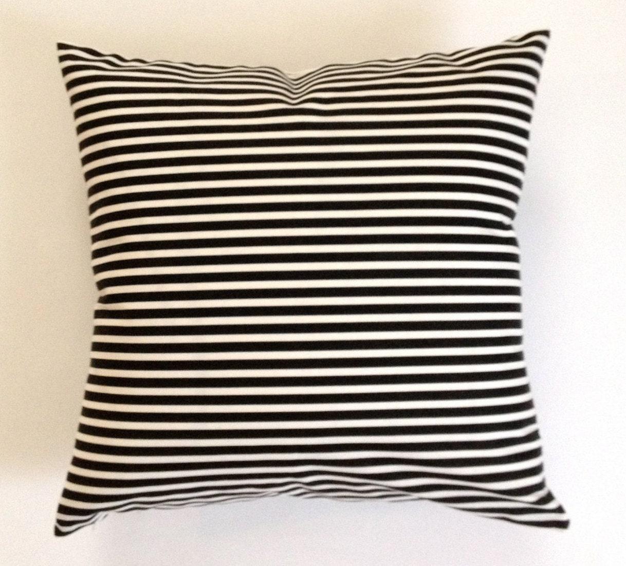 Black And White Striped Throw Pillows : SET OF TWO Decorative Throw Pillow Black and White Striped