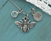 Bee Charm Necklace, Personalized Necklace, Silver Pewter Bee Charm, Custom Necklace, Swarovski Crystal birthstone, monogram
