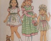 Vintage 1974 Girls Holly Hobbie Dress and Puffy Cap Pattern - size 5 -6299 Simplicity