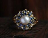 Antique Diamond Ring, Edwardian Diamond Ring, Antique Engagement Ring, 18 Karat Gold Ring, Sapphire Engagement Ring, White Pearl Ring.