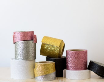 Glitter Wide Tape - Gold / Silver / Rose Gold / White / Black / Mauve Pink