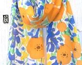 Hand Painted Silk Scarf, ETSY, Summer Scarf, Orange and Blue Scarf, Orange Poppies and Blue Lupine Floral Scarf, Takuyo, 8x54 inches.