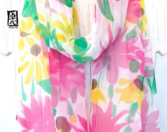 Bird Scarf, Silk Summer scarf, Chiffon Scarf, Hand Painted Silk Scarf, Purple Hummingbird & Yellow, Pink Wildflowers, Made to order
