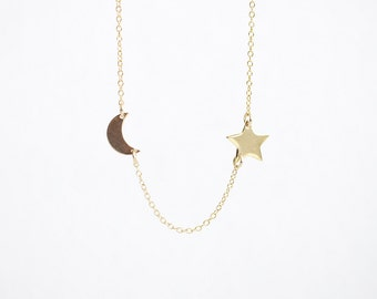 Crescent Moon and Wish Star Necklace - half moon and shining star, best friend friendship necklace, mother and daughter, bridesmaids jewelry