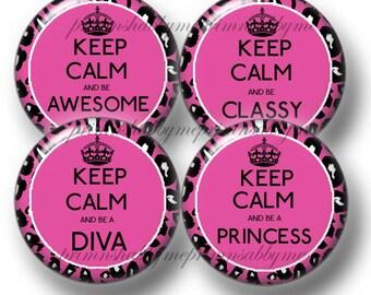4 LEOPARD PRINT, Bottle Cap Images, Digital Collage Sheet, 1 Inch Circles, Keep Calm, Diva, Princess, Sayings, Quotes, Pendants, Cabochons