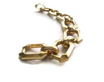 Vintage Christian Dior Chain Link Bracelet Heavy Gold Tone 1970s