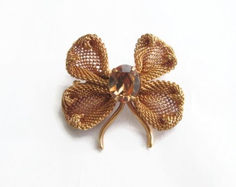 Vintage Napier Brooch Dogwood Flower Gold Mesh and Topaz Rhinestone 1950s