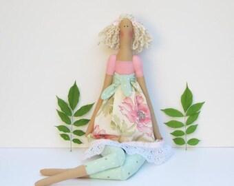 Tilda doll fabric doll handmade rag doll pink cloth doll stuffed doll cute blonde doll birthday gift - baby shower gift nursery decor doll