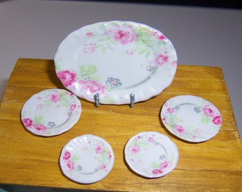 Set tray and 4 plates miniature