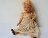 Vintage 1940's 50's Nancy Ann Storybook Doll, Sweet Small Bisque Doll, Movable Arms & Legs, Little Ceramic Doll,