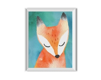 Fox, Woodland Decor, Watercolor, Boy, Girl, Woodland Nursery Decor, Woodland, Children's Room Art, Home Decor, Watercolor Fox, Home Decor