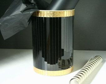 Retro mirrored waste paper basket, mirrored vintage waste basket, madmen decor