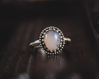 Dendritic Agate Silver Ring-Dendritic Ring-Twig Ring-Dendritic Agate Twig Ring-Dendritic Jewelry-Forest Rings-Moss Rings