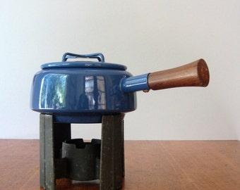 Vintage Dansk Kobenstyle Blue Enamel Fondue Pot