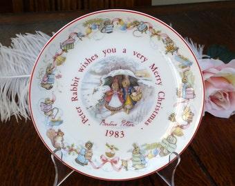 Wedgwood Peter Rabbit 1983 Christmas Plate, Beatrix Potter Peter Rabbit 1983 Christmas
