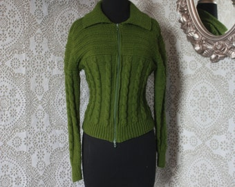 Women's Vintage Army Green Knit Button Up Cropped Cardigan Sweater S/M