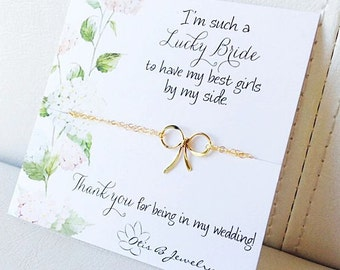 Dainty Bow bracelet, BRIDESMAID GIFTS, Bridesmaid bracelets, Bridal jewelry, Bridesmaid cards and bracelets for bridesmaids